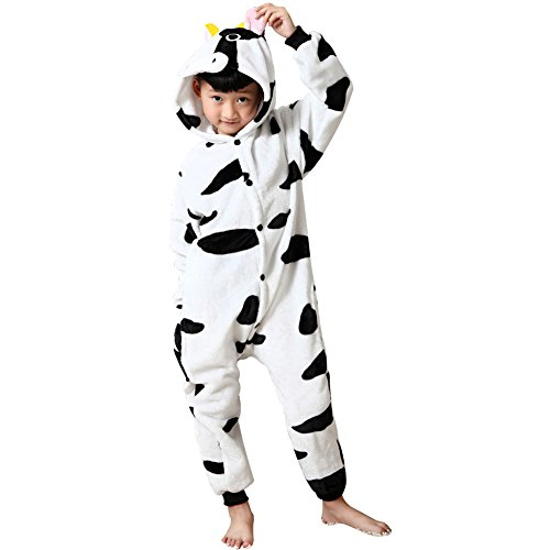 Missbleu Deguisement enfant pyjama combinaison animaux pyjama polaire enfant Vache a lait taille 140