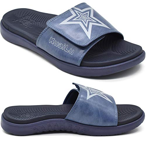 KuaiLu Mens Orthotic Leather Sandals Plantar Fasciitis Arch Support...