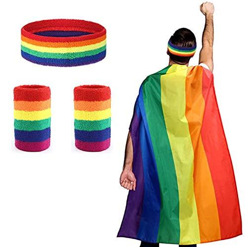 LGBT Flagge/ Regenbogen Fahne/ Gay Pride Flagge, 90X150 cm Mantel mit 1 Rainbow Stirnband und 2 Armband, Lebendige Farbe, in den Regenbogenfarben ideal beim Sport und für LGBT Events (4 Stück)