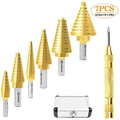 VIGRUE Titanium Step Drill Bit Set  Automatic C...