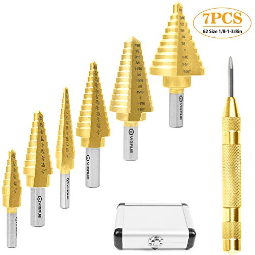 "VIGRUE Titanium Step Drill Bit Set & Automatic Center Punch 62 Size 1/8"" to 1-3/8"" HSS Drill Bits Sharp Hole Cutter for Sheet Metal Wood Aluminum PVC, 7pcs"