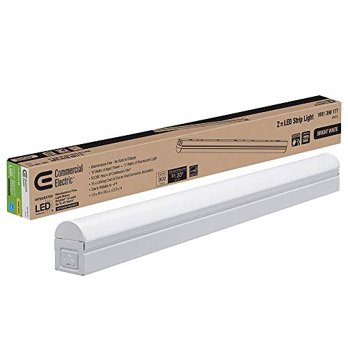 Commercial Electric - Plug In or Direct Wire Power Connection 2 ft. White 4000K Integrated LED Strip Light (with power cord and linking cord)