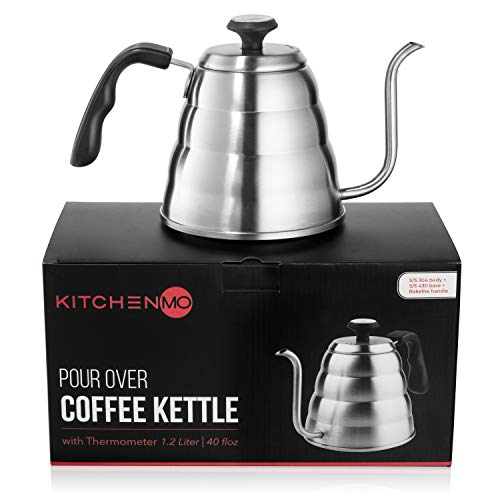 KitchenMO Pour Over Coffee Kettle with Thermometer for Exact Temperature (40 fl oz/1.2 Liter) - Gooseneck premium quality stainless steel Stove top Kettle for Drip Coffee and Tea making.