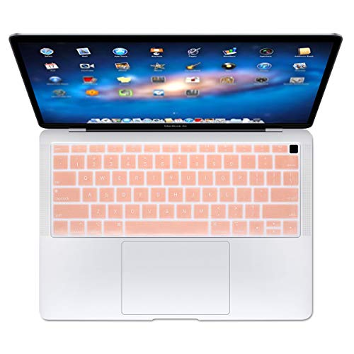 Se7enline Macbook Air 13 inch Keyboard Cover 2018/2019 New Soft Silicone Protector for MacBook Air 13-Inch with Touch ID with Retina Display Model A1932 US Layout Protective Skin, Rose Gold