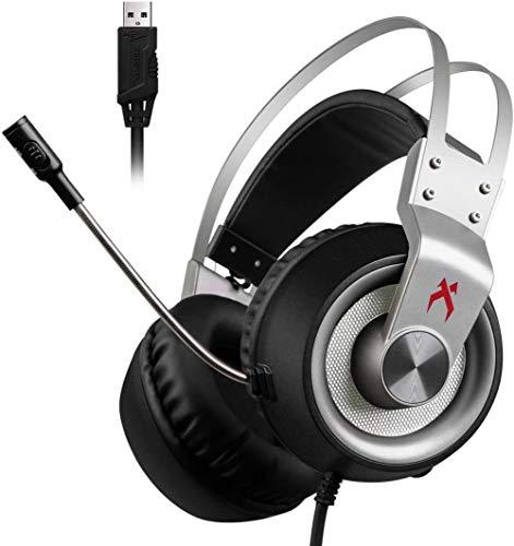 USB Gaming Headset, Xiberia K1 PC Headset, Over-Ear Gaming-Kopfhörer mit Mikrofon, Crystal Clear Sound Soft-Speicher Earmuffs, LED-Leuchten und Noise Cancelling-Mikrofon für PC & MAC