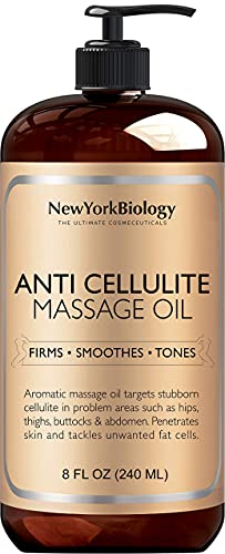 New York Biology Anti Cellulite Massage Oil 8 oz - 100% Natural Cellulite Remover Massage Oil for Skin Tightening and Firming - Anti Cellulite Oil Treatment for Women and Men