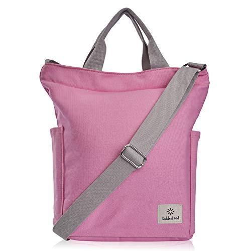 Wenter.S - Umhängetasche Damen groß Canvas Tasche Pink (Rosa) angenehm zu tragen Dank breitem verstellbaren Gurt Tragegriffe doppelter Innentasche