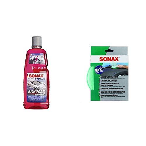SONAX XTREME RichFoam Shampoo (1 Liter) Schaum-Shampoo / Snow Foam Shampoo erzeugt dichten, langhaftenden & schmutzlösenden Schaumteppich & MicrofaserPflegePad (1 Stück) für gleichmäßiges Auftragen