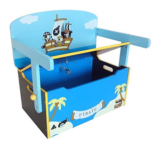 Bebe Style PRF1CTB-Blue Verwandelbare Spielzeugkiste + Tischbank + Stuhl - Holzkiste Aufbewahrung, blau - 3