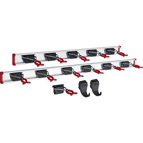 BRUNS Alu-Gerätehalter-Set, inkl. 12 Halter und 2 Haken, mit Schiene 1000 mm und 750 mm