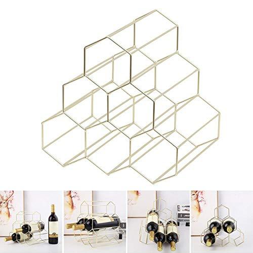 Rainandsnow Honeycomb Weinregal Eisenregal Vitrine Hauptdekoration Portabottiglie da Wein RT99,Color,Blanco
