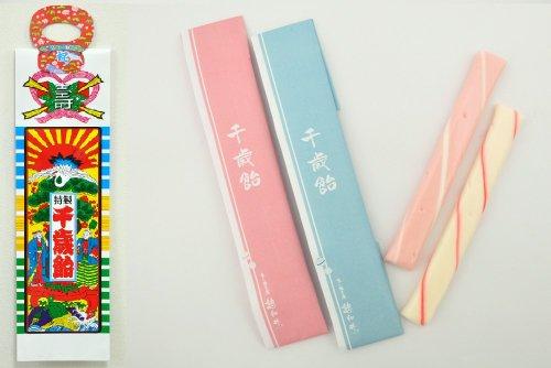 千歳飴 2本入(赤・白) のし袋・手提げ袋付(昔ながらの一般タイプ)