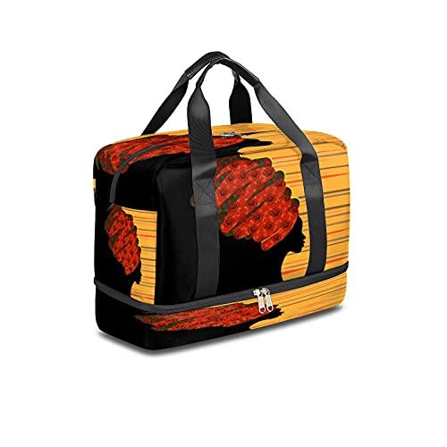 BOLOL Bolsa de viaje para mujer étnica tribal bolsa de deporte bolsa de gimnasio, bolsa de semana africana para hombres y mujeres