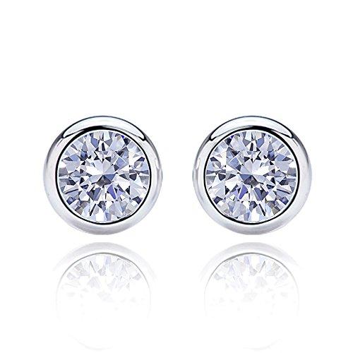 Solid 14K White Gold Earrings 5mm Round CZ Stone 1 cttw Bezel Studs Screwback Stud Earrings