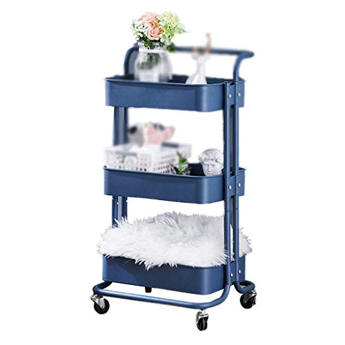GAXQFEI Foyer Rack 3-Tier Rolling Utility Cart, Service Cart with Mesh Basket Handles and Wheels for The Kitchen Cafe Bedroom Storage Shelves for Storage,B,45 * 38 * 82Cm