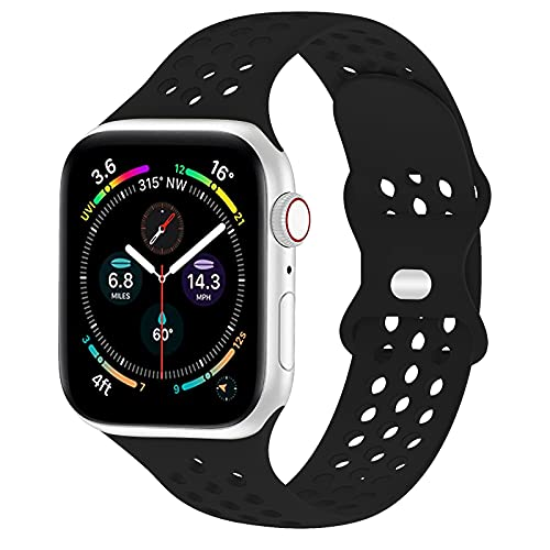 TopPerfekt Strap Compatible for Apple Watch 42mm 44mm Women Men, Breathable Soft Silicone Sport iWatch Bands Replacement Strap Compatible for iWatch Series 6/5/4/3/2/1/SE (42/44mm, Black)