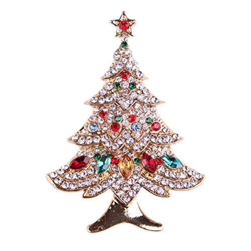 FENICAL Broches Broche para árbol de Navidad Broche de Navidad de cristal Broche para la ropa Regalo para mujer