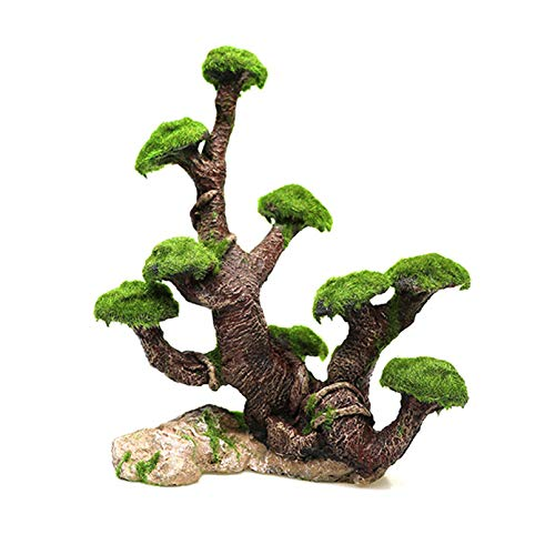 Tfwadmx Aquarium Decorations Tree Resin Tree Trunk Reptile Branches Fish Tank Ornament with Moss for Fish Shrimp- Easy to Install