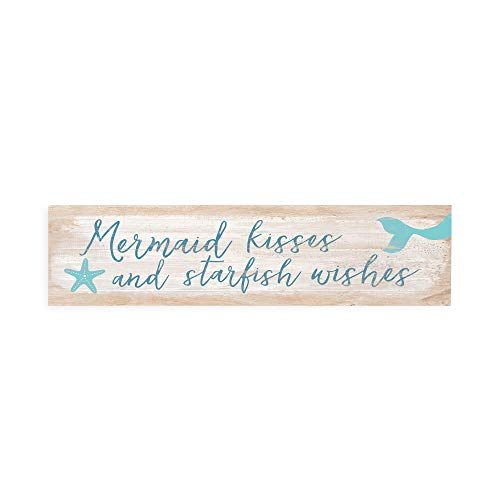 P. Graham Dunn Mermaid Kisses & Starfish Wishes Whitewash 6 x 1.5 Mini Pine Wood Tabletop Sign Plaque