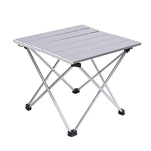 FACAZ Mesa Plegable de Aluminio para Exteriores, Mesa de Barbacoa portátil para Acampar, portátil, multifunción, Ultraligera, Negra