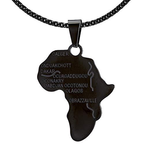 Fusamk Hip Hop - Collar con colgante de aleación con placa de mapa de África con cadena, 56 cm Blanco