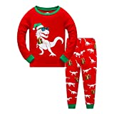 "Sampheya ""Dinosaur"" Girl Boys Christmas Pajamas Sets Kids PJS Sleepwear 100% Cotton (6T)"