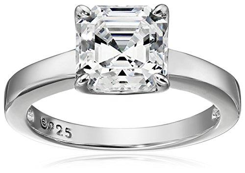Platinum-Plated Silver Asscher-Cut (2 cttw) Solitaire Ring made with Swarovski Zirconia, Size 5 (Platinum D-shape Wedding Ring)