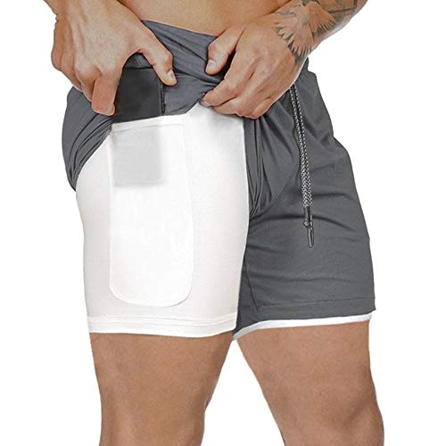 SODIAL Yoga Pants Men's Running Shorts Sports Pants Double-Layer Quick-Drying Jogging Fitness Shorts...