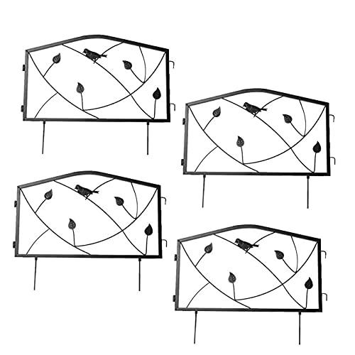Beetzaun Metall, Gartenzaun,4 Stück Metall Zaun Komplettset Zaun Dekorative Zaun Zaunelementen Rankhilfe Rankgitter Beetzaun Für Dekoration, Schwarz
