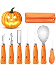 FEONRJIEY Halloween Pumpkin Carving Kit with Carrying Bag, Pumpkin Carving Tools, Professional Heavy Duty Stainless Steel Tools, 7 Piece Pumpkin Carving Set for Kids and Adults