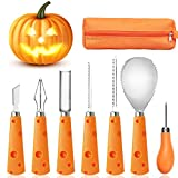 FEONRJIEY Halloween Pumpkin Carving Kit with Carrying Bag, Pumpkin Carving Tools, Professional Heavy Duty Stainless Steel Tools, 7 Piece Pumpkin Carving Set for Kids and Adults (Pumpkin)