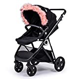 For-Your-Little-One aFHACWB-P158 - Pram Fur Hood Trim Compatible On Bugaboo, Color Pink