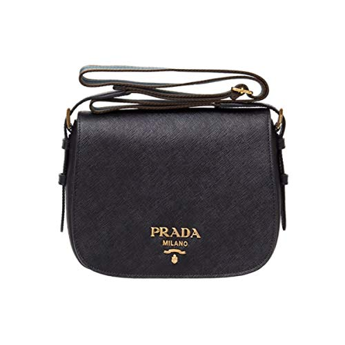 Prada Women Saffiano Leather Web Strap Cross Body Shoulder Bag Black 1BD192