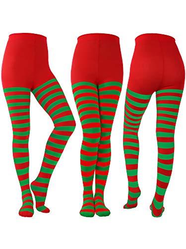 Blulu 3 Paar Gestreifte Weihnachtsstrumpfhose Ganzkörperansicht Strumpfhose Strumpfhose für Weihnachten Halloween Kostüm Zubehör