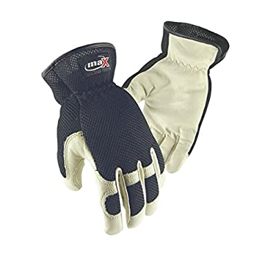Galeton Max Extra Utility/Mechanics Cowhide Work Gloves, English, Leather/Polyester, Black/Natural