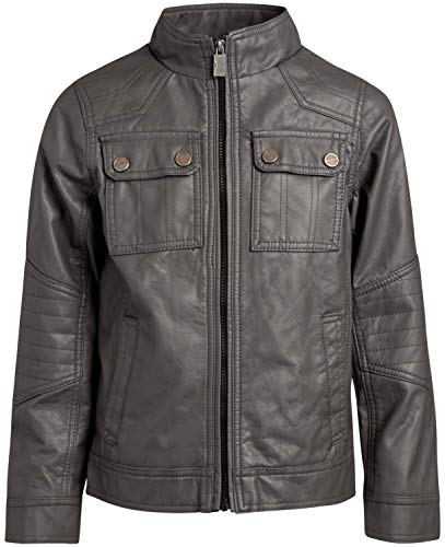 Urban Republic Boy's Faux Leather Officer Jacket, Dark Charcoal, Size 10/12'
