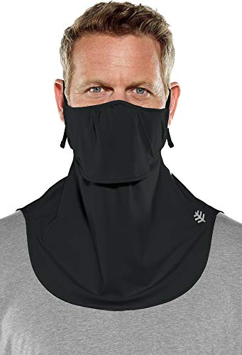 Coolibar UPF 50+ Men's Women's Vermilion UV Layered Mask - Sun Protective (One Size- Black)