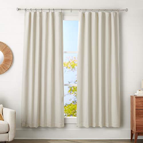 AmazonBasics - Barra de cortina con terminales cúbicos, 2,5 cm de diámetro, longitud ajustable de 183-366 cm, con 14 anillas, efecto níquel