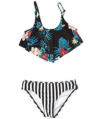 Roxy Girls' Big Sunkissed Flutter Swimsuit Set, Anthracite Badami, 10