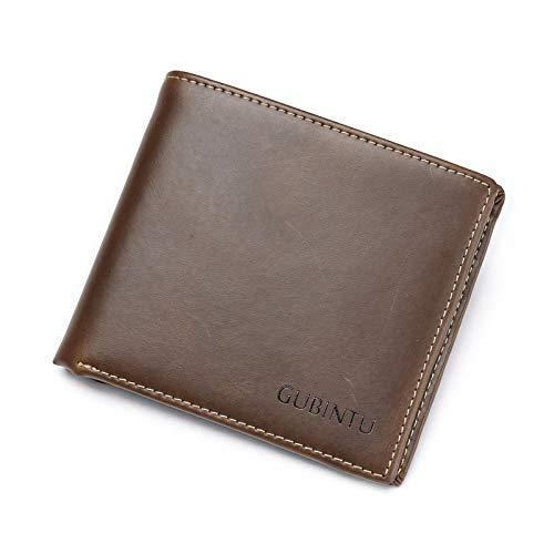 DZX Schlanke Bi Falten Mens Wallet Echtes Leder Kreditkarteninhaber Organizer Papier Geldbeutel Brown