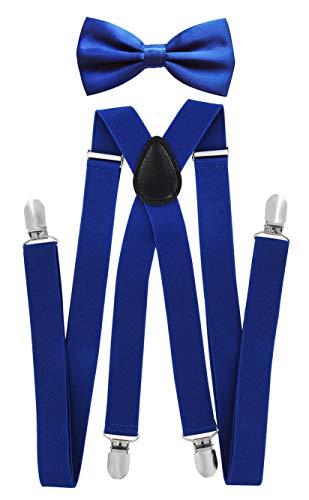 axy Herren Hosenträger mit Fliege - 4 Starken Clips X-Form (Blau (Hosenträger Breit 2,5cm))
