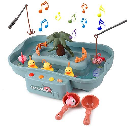 FORMIZON Juguete de Pesca, Juguetes de Baño Bebe, Juguetes Bañera Juguetes Piscina para Niños, Juguetes de Pesca con Música, Juegos de Agua para Niños Niñas (Azul)