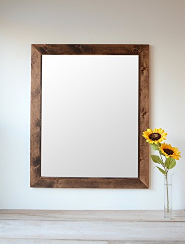 Rustic Wooden Wall Mirror w/Square Decorative Inner Trim