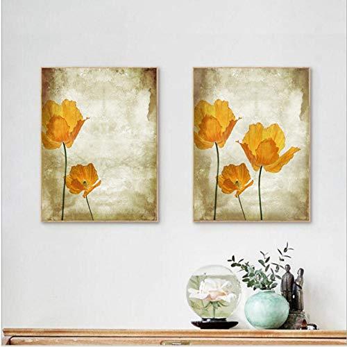 ARTTONIT Cuadros de Flores Modernos Pintura al óleo Imprime Lienzo Retro Pintura, Vintage Naranja Flor Pared Cuadros decoración del hogar 40x60cmx2 sin Marco
