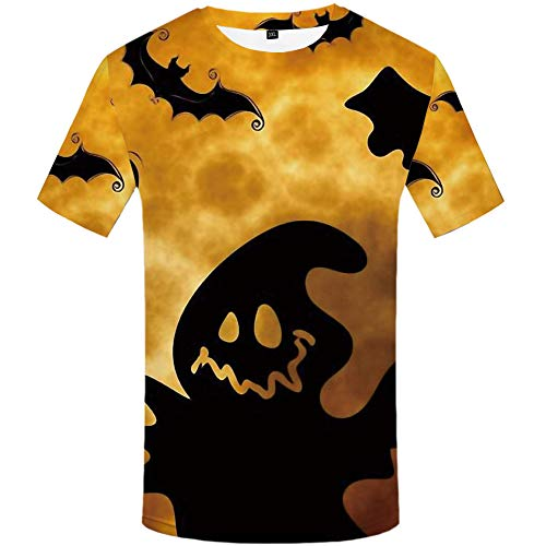 Zaima Camiseta Unisex Calabaza De Halloween Estampado En 3D Casual Manga Corta Camiseta Personalizada De Miedo Camiseta con Cuello Redondo Top Hombre Divertido Parodia Tallas Grandes Horror Mujeres