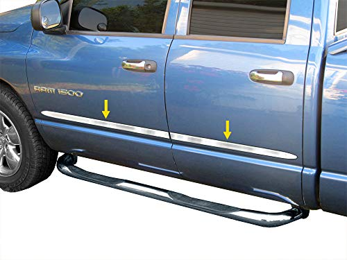 Made in USA! Compatible with 2002-2008 Dodge Ram 1500/03-2009 2500 Quad Cab Rocker Panel Chrome Stainless Steel Body Side Moulding Molding Trim Cover 1.5' 4PC