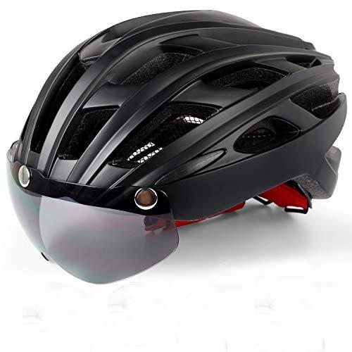 KINGLEAD Casco de Bicicleta con Luz LED Unisex Casco de Bicicleta Protegido...