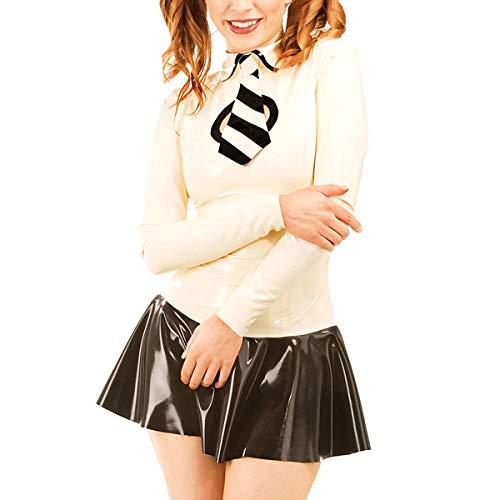 Lederunterwäsche für DamenSchulmädchen Latex Gummi Outfit Sexy Latex Uniform Shirt Mit Minikleid Latex Röcke (NO TIE) -Clear_XXL