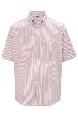 Edwards Men's Short Sleeve Oxford Shirt X-Large Burgundy Stripe