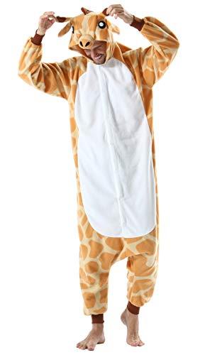 Pijama Animal Entero Unisex para Adultos con Capucha Cosplay Pyjamas Ropa de Dormir Kigurumi Traje de Disfraz para Festival de Carnaval Halloween Navidad Jirafa